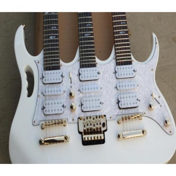 Custom Ibanez White JEM 7V Triple Neck 6/6/12 Strings Guitar #4 image