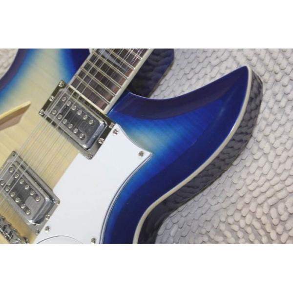 Custom Flame Maple Top  12 Strings 330 Blue White Guitar #8 image