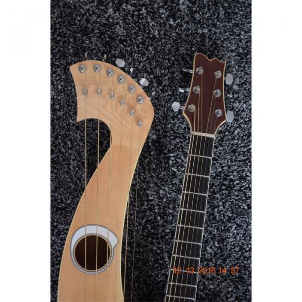 Custom Built 6 6 8 String Acoustic Electric Double Neck Harp Guitar #7 image