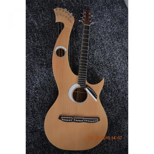 Custom Built 6 6 8 String Acoustic Electric Double Neck Harp Guitar #8 image