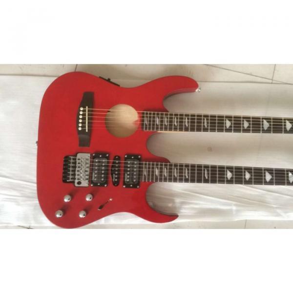 Custom Ibanez JEM 7V Red Double Neck Acoustic Electric 6 12 Strings Guitar #6 image