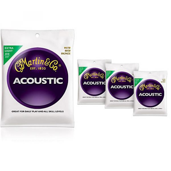 Martin M170 80/20 Bronze Round Wound Extra Light Acoustic Guitar Strings - 4 Pack #1 image