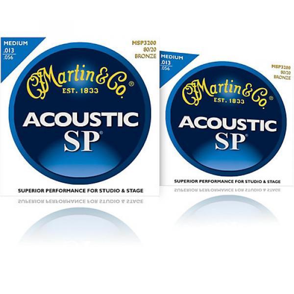 Martin MSP3200 SP 80/20 Bronze Medium 2-Pack Acoustic Guitar Strings #1 image