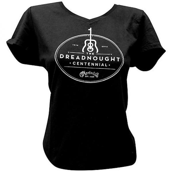Martin Dreadnought Centennial V-Neck Ladies T-Shirt XX Large Black #1 image