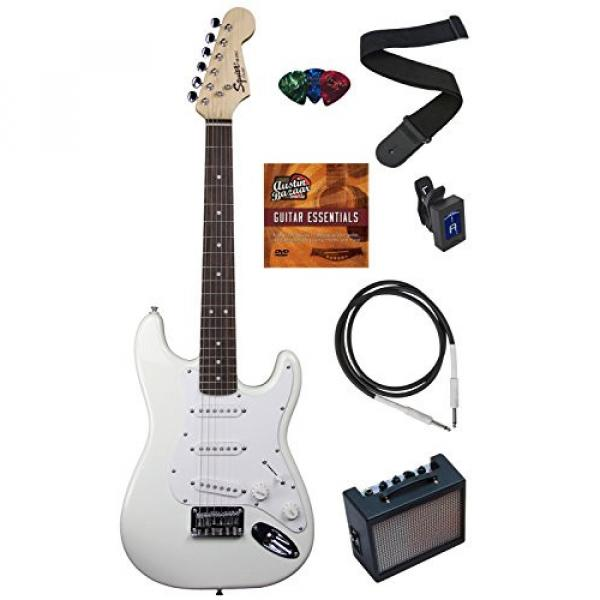 Squier by Fender Mini Strat Electric Guitar Bundle with Amplifier, Cable, Tuner, Strap, Picks, Austin Bazaar Instructional DVD, and Polishing Cloth - Arctic White #1 image