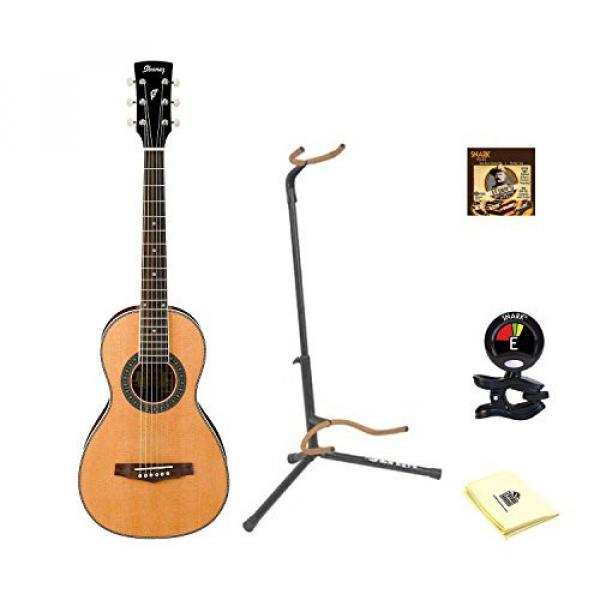 Ibanez PN1 Natural Parlor Acoustic Guitar With Polishing Cloth, Picks, Tuner, and Stand #1 image